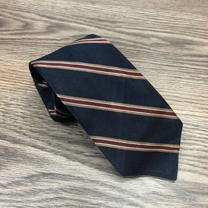 Robert Talbott Navy w/ Tan & Red Stripe Tie